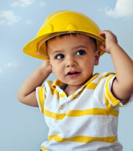 boy wearing hard hat