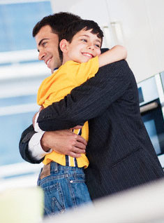 Businessman with son