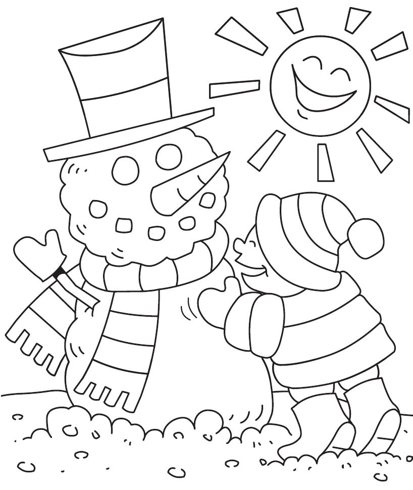Winter Coloring Page for Kids