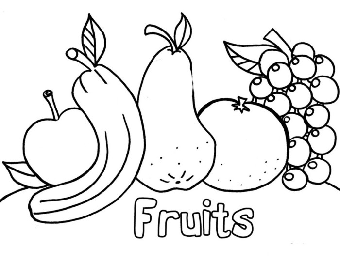 fruits free coloring pages for children - Kids Colouring Picture
