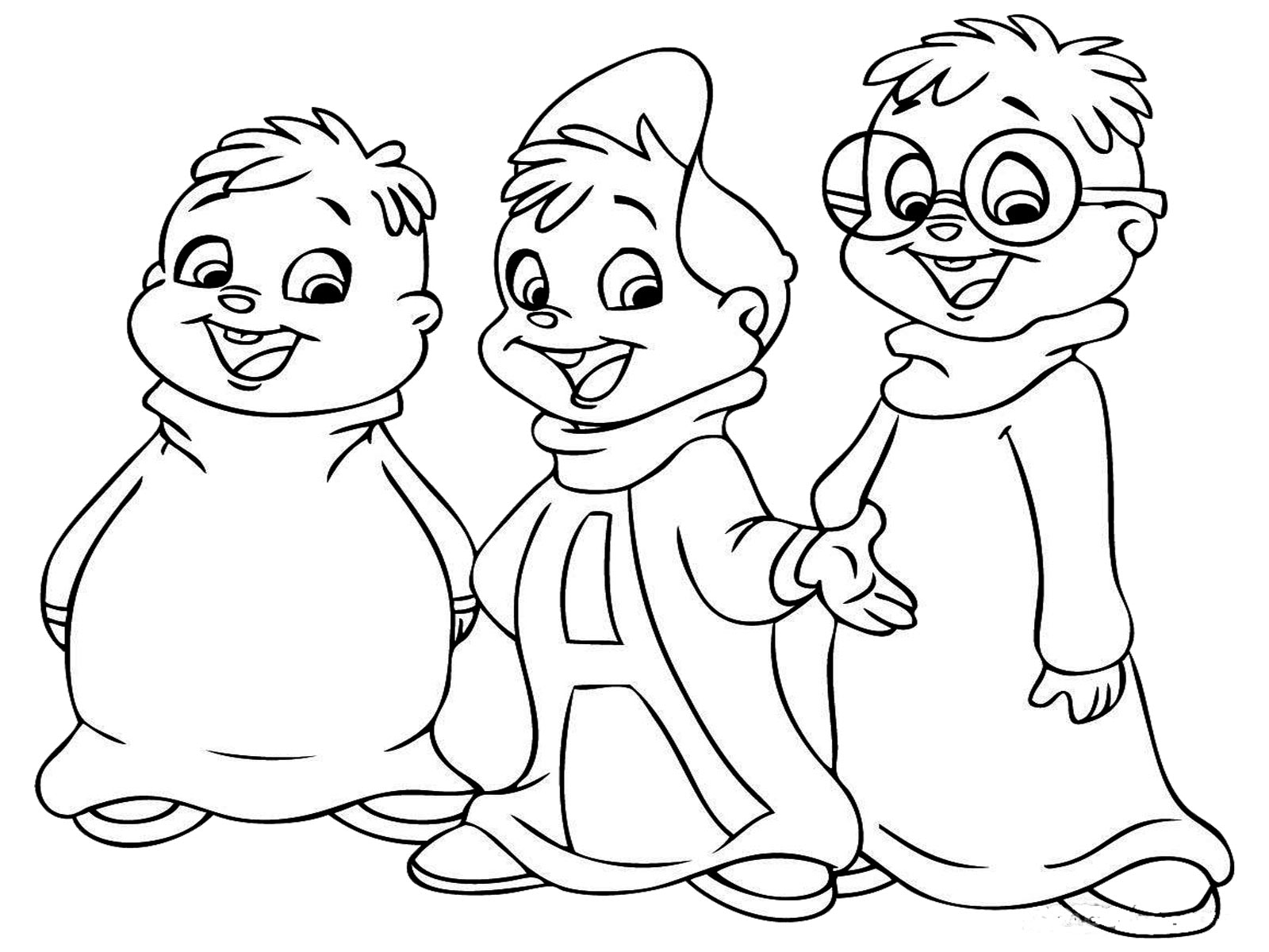 three friends printable coloring image for kids