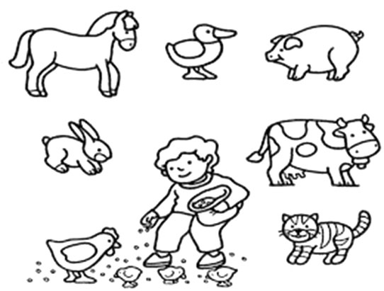 English Writing Worksheet - Coloring Picture Animals