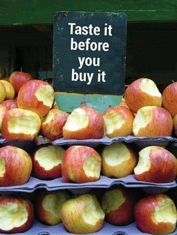 Funny Apples Sale Photo