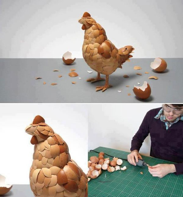 Funny Craft - chicken made with egg shells