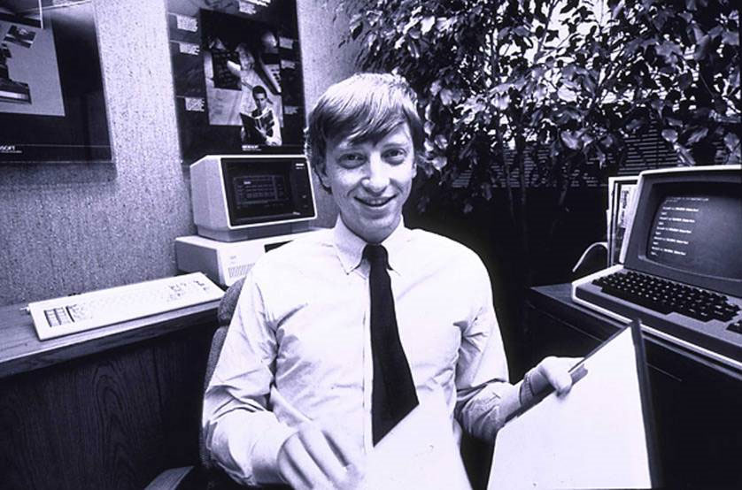 Bill Gates, about 27, in his Microsoft office in 1982