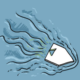 Science experiment - paper boat in water