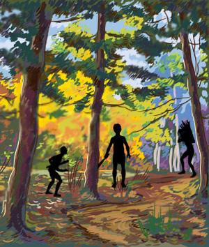 Men in forest