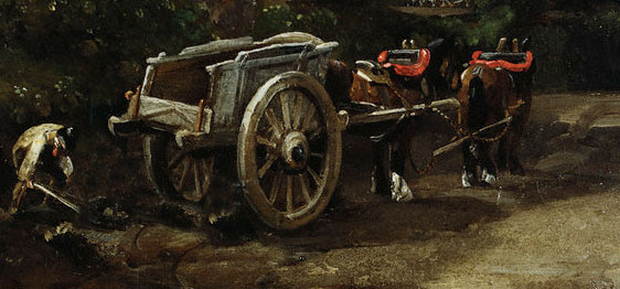 The Lazy Farmer with Horses Cart