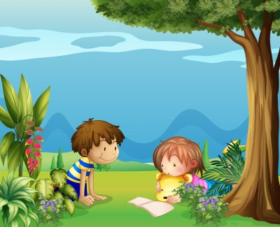 Boy with Girl reading in a Garden